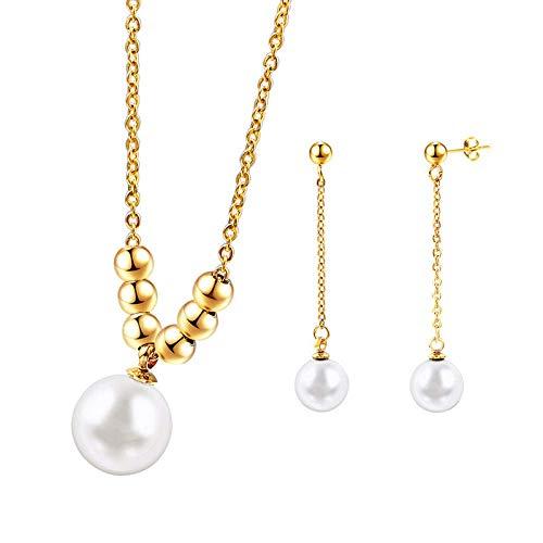Gepersonaliseerde accessoires, Kettingen, Parel Sieraden Sets Zilver en Goud Eenvoudige Mode RVS met Parel Ketting en Drop Oorbellen, Thumby Goud