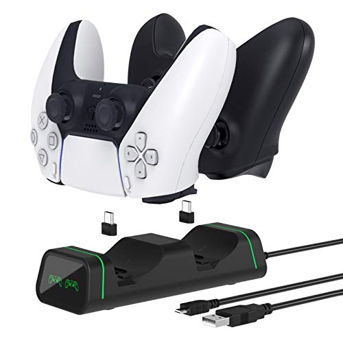 Fyoung Ladegerät Station für PS5 Controller, Ladegerät für Nintendo Pro Controller Xbox, Dual-Slot für Ladestation mit LED-Anzeige – Schwarz