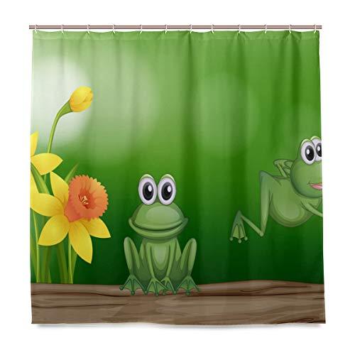 BIGJOKE Duschvorhang, Blumen-Frosch-Muster, schimmelresistent, wasserdicht, Polyestergewebe, 12 Haken, 183 x 183 cm, Heimdekoration