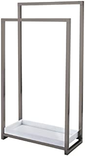 Kingston Brass SCC8268 Pedestal 2-Tier Steel Construction Towel Rack with Wooden Case, Brushed Nickel
