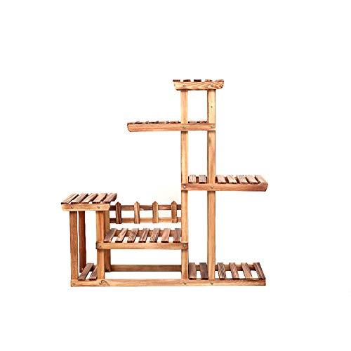 XiuHUa Floor-standing bloem stand - Anti-corrosie houten bloem stand Multi-layer vloer wastafel frame Bonsai tafel balkon Woonkamer interieur Groene bloem standaard, 92 * 25 * 102cm, 2 kleuren Bloem sta