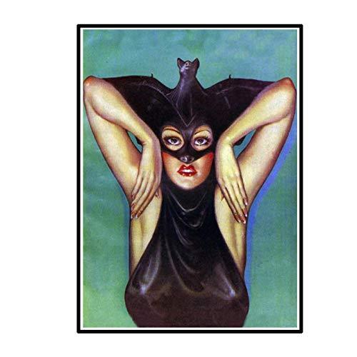 DrCor Pster de Lienzo Vintage de Chica murcilago Raro, Disfraz de Vampiro, Impresiones de Arte de Pared, Pintura, decoracin de Halloween, 50x70 cm, sin Marco, 1 Uds.