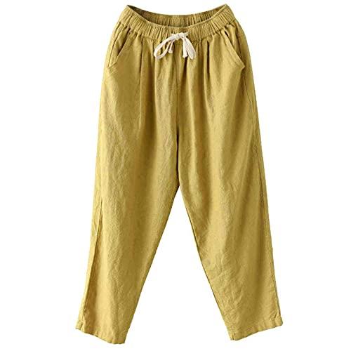 XWANG Pantalones de verano para mujer, informales, de tela monocolor, con cordón, para el tiempo libre, elásticos, de lino, informales, para la playa, con bolsillos, 12 amarillo, XL