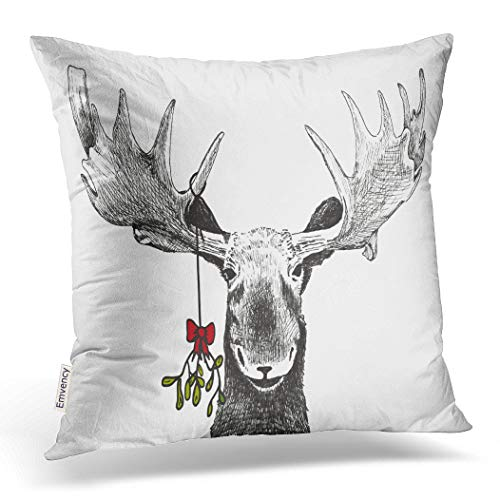 Emvency Decorative Throw Pillow Cover Square Size 20x20 Inches Fun Christmas Funny Sketch of Big Smiling Moose Winter Pillowcase with Hidden Zipper Decor Cushion Gift for Holiday Sofa Bed