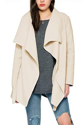 Kendindza Collection Kendindza Damen Mantel Trenchcoat mit Gürtel OneSize Lang und Kurz (OneSize, Beige Kurz)