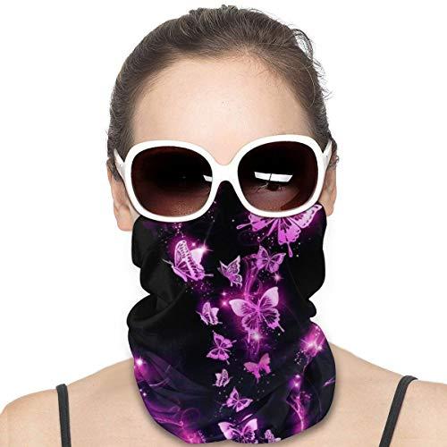 Dujiea Glitter Pink Butterfly Woman Seamless Bandana Dust Sun UV Protection Neck Gaiter Multifunctional Balaclava Face Mask for Motorcycling Hiking Fishing