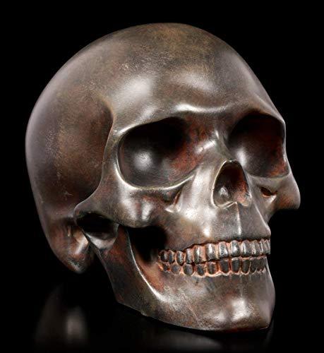 Figuren Shop GmbH Gothic-Totenkopf - rostfarben | Fantasy-Skull, handbemalt, H 13 cm