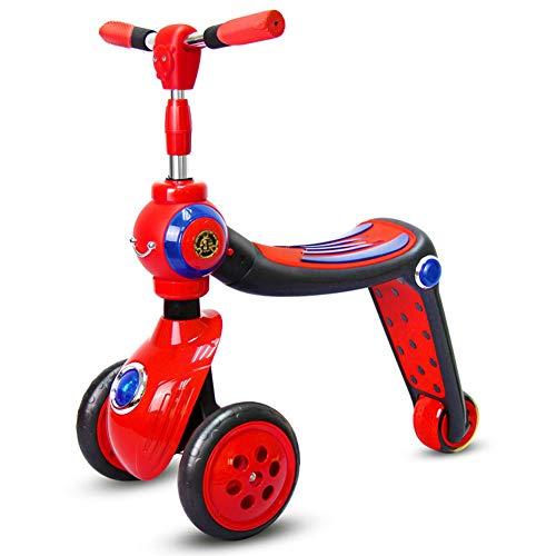 Patinete Plegable NiñO Tipo Scooter Tipo con Manillar Ajustable Freno Asiento Desmontable,Red