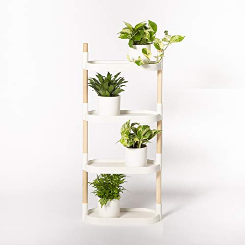 Citysens - Estantería para Plantas, Blanco, 4 bandejas