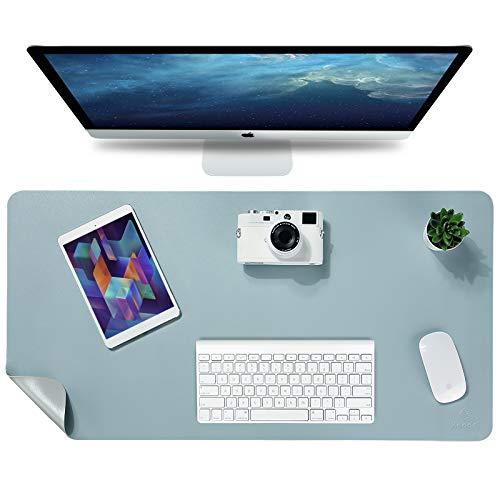 Knodel Tischunterlage, Schreibtischunterlage, 80 x 40cm PU-Leder Tischunterlage, Laptop Tischunterlage, wasserdichte Schreibunterlage für Büro- oder Heimbereich, doppelseitig (Hellblau / Silber)