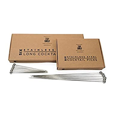 Stainless Steel Cocktail Picks Combo Pack - (6pc of each 4  and 8  picks)