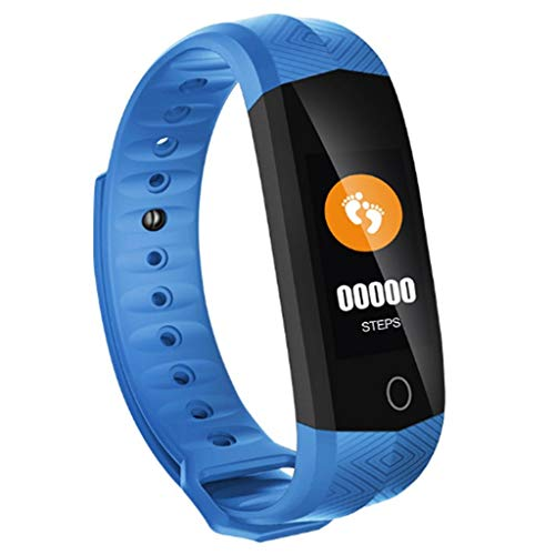 CHOME Intelligentes Armband, Touchscreen-Kalorienzähler Fitness-Tracker Wasserdichter Puls-Tracker Schrittzähler Aktivitäts-Tracker Schlaf,Blue