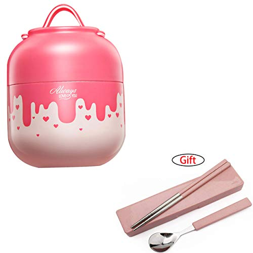 Tentock 500ml Food Mug Stainless Steel Insulated Vaccum Jug Food Porridge Container for School Travel, Keep Cold or Warm(pink pot)