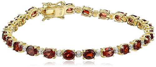 18k Yellow Gold Plated Sterling Silver Genuine Garnet and Diamond Accent Tennis Bracelet, 7.25'