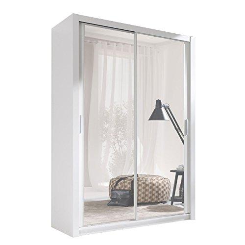 Kleiderschrank mit Spiegel Geodi, Elegante und Modernes Schwebetürenschrank, Schiebetür, Schlafzimmerschrank, Schlafzimmer, Jugendzimmer (150 cm,...