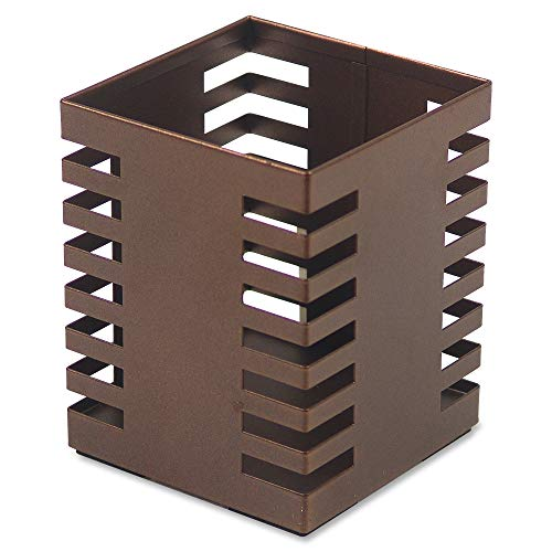 Lorell Stamped Metal Square Cup Pen/Pencil Holder, 3.2' x 3.2', Bronze