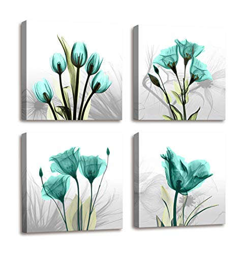 Wall Decorations for Living Room Canvas Art Bathroom Decor - 4 Panels Elegant Tulip Flower Contemporary Painting Pictures Canvas Print Framed Wall Art for Office Bedroom Decor And Home Decorations