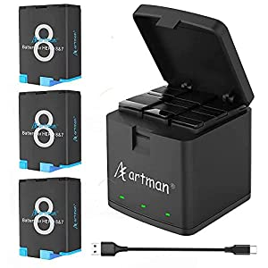 Artman Hero 8/7/6 1500mAh Replacement Batteries(3-Pack) and 3-Channel LED USB Charger Compatible with GoPro HERO 8 Black, HERO 7 Black, HERO 6 Black(Fully Compatible with Original)