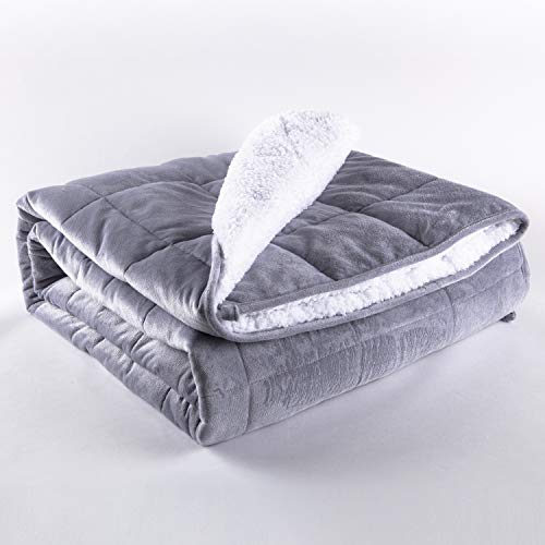 Sleepymoon Weighted Blanket| for Adult Kids| Twin Queen/Full King Size| Breathable Organic Sensory Heavy Blanket Cooling with Glass Beads for Better Sleep (60''×80'' 15lbs, Light Grey Sherpa)