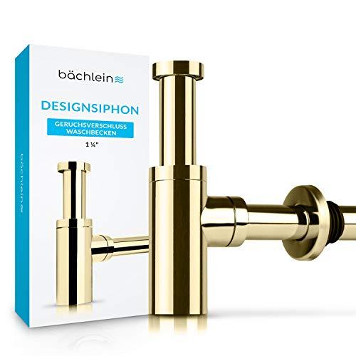 Bächlein Design Siphon Universal für Waschbecken & Waschtisch [PVD Gold] Premium Design Siphon fürs Waschbecken