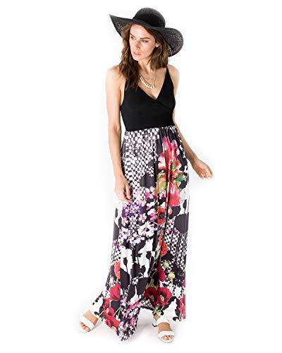 Smash! Vestido Negro Estampado Floral y Geométrico Maxi Vestido de Mujer de Verano Vestido de Tirantes con Escote en Pico Dress Hunter