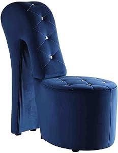 Best Master Furniture High Heel Velvet Shoe Chair with Crystal Studs, Blue
