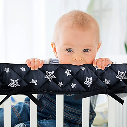 3-Piece Baby Black Stars Crib Rail Cover Protector Set from Chewing, Crib Rail Teething Guard for Standard Cribs, 1 Front Rail and 2 Side Rails, Secure Crib Rail Guard