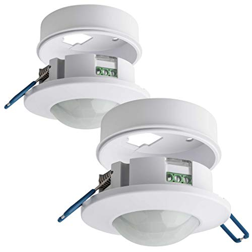 SEBSON® Bewegungsmelder Innen - 2er Set - Unterputz Aufputz Decken Montage, programmierbar, Infrarot Sensor, Reichweite 8m / 360°, LED geeignet, 3-Draht
