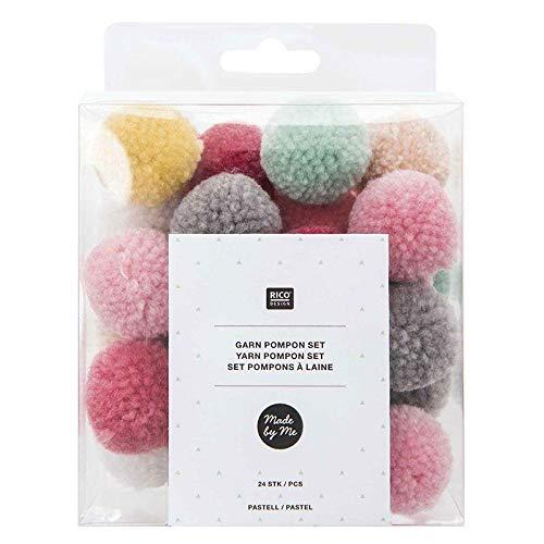 Rico Design Made by Me Garn Pompons / Plüschbälle - 24 Stück Pastell Mix - Pompons zum Basteln & dekorieren - DIY