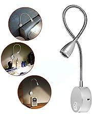 Leeslamp, 2 stuks LED-bedlampjes, wandmontage naast lampen met aluminium nachtverlichting Stekker met schanslamp voor slaapkamer / kantoor / studeerkamer / display, warmwit, 200LM / 3000K / 3W / 110-240V AC, stralingshoek: 30 ° Lengte zwanenhals: 38 cm (zilver)
