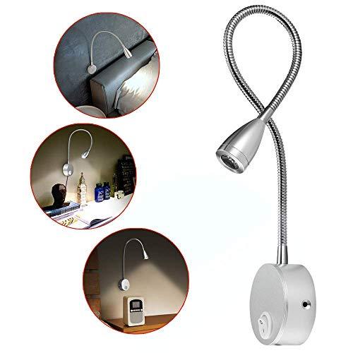 Lámpara de lectura,luz de pared LED de 2 piezas,luz de noche con recubrimiento de aluminio y con cable blanco cálido,200 LM/3000K/3W,ángulo del haz:30°,longitud del brazo:38 cm (plata, 1 pieza)
