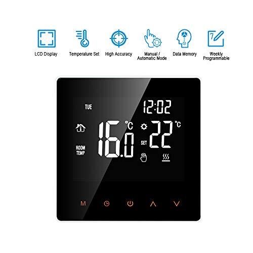 Festnight Wi-Fi Smart thermostaat digitale temperatuurregelaar app-control LCD-display touchscreen week programmeerbare elektrische vloerverwarming thermostaat voor thuis school kantoor hotel 16 A