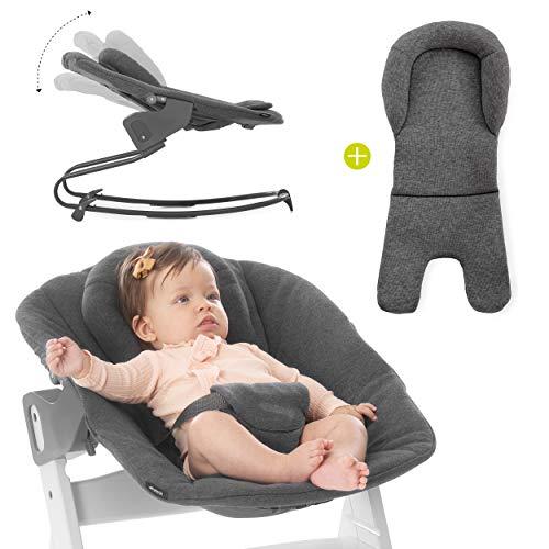 Hauck Newborn Bouncer Premium para trona Alpha y Beta Plus - Hamaca y Balancín 2 en 1 con respaldo reclinable, reductor recién nacidos y tejido de algodón - gris oscuro