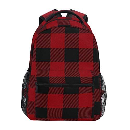 JinDoDo Rucksack Rot Schwarz Kariert Klassisch Muster College Schultasche Casual Schultertasche für Jungen/Mädchen/Herren/Damen