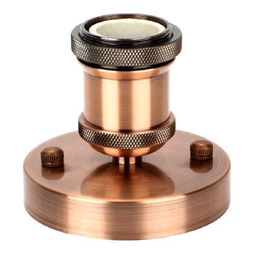 Lalafancy Vintage Edison Lampenfassung E27, Retro Fassung Deckenfassung Lampensockel Lampenfuß Hängelampe Halter Pendelleuchte Adapter (Rot Antique Brass, 1 er)