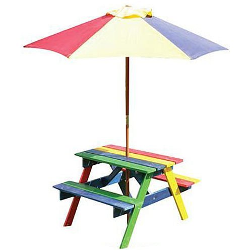 spot on dealz 2 in 1 Kids Picnic Table and Parasol Set Outdoor Garden Bench