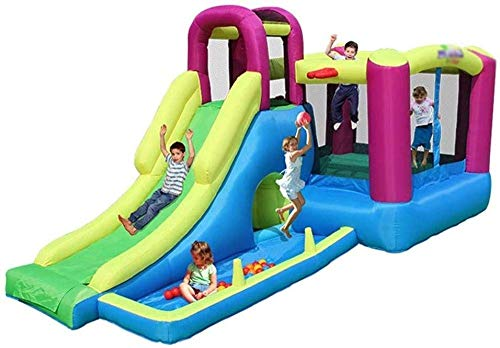 ROM Multifunctional Trampoline/Children Slide/Inflatable Castle and Slide,/Outdoor Playground/Home Square Trampoline/Best Gift