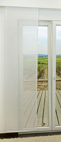 LYSEL Schiebegardine Wind transparent einfarbig in den Maßen 245 cm x 60 cm weiß/reinweiß