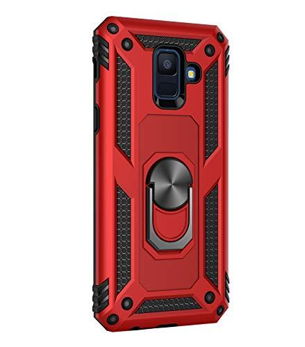 14chvier Funda para Galaxy A6 2018 de grado militar, carcasa dura para teléfono de policarbonato, 2 en 1, Galaxy A6 2018, funda para teléfono móvil, soporte de 360°, soporte magnético, soporte para coche, funda protectora rojo rojo A6 2018