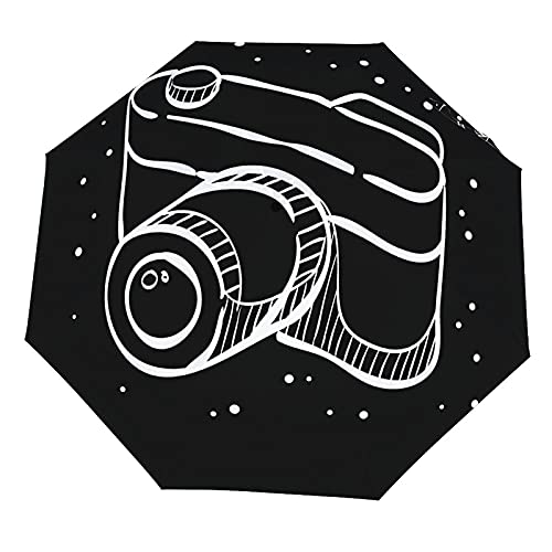 Paraguas anti-UV para sol/lluvia,Cámara con telémetro en líneas Enfoque digital Paraguas de viaje a prueba de viento: compacto, automático.