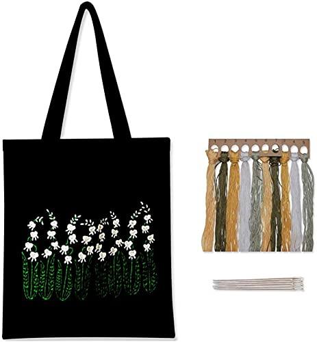 SpiceRack Tote ecológico Bolsa de Lona Negra Kit de Bordado con patrón e Instrucciones Incluye Bolsa de Bordado con patrón de Flores, Hilos de Colores y Herramienta (sin Bastidor de Bordado)