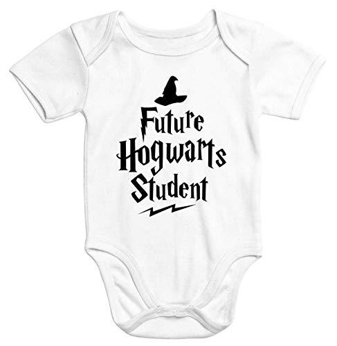 MoonWorks® Kurzarm Baby Body HP Hogwarts Future Student Jungen Mädchen Onesie Bodyshirt weiß 6-12 Monate
