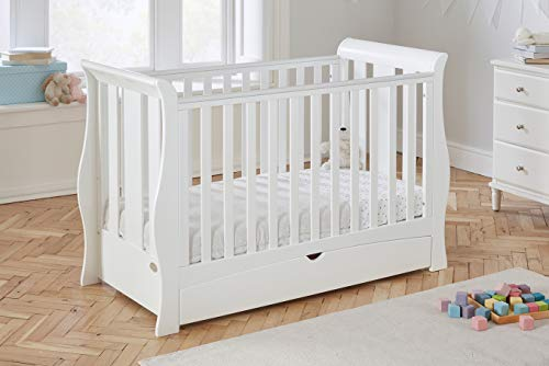 Baby Snooze - Space Saver cot Bed with Drawer - converts to Toddler Bed & Sofa Bed (White)