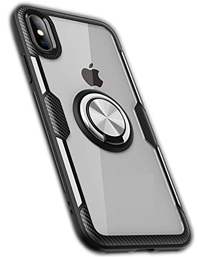 本物の規範バブルiphone 7 iphone 8 ケース リング 付き 強化 ガラス スタンド 耐衝撃 (iphone7 iphone8, ブラック)
