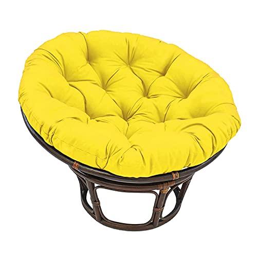 Cojín para silla Papasan Cojines colgantes amarillos para sillas con forma de huevo, cojín acolchado para patio de varios tamaños Cojín para columpio redondo y esponjoso de gran tamaño (SOLO cojín)