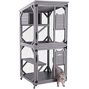 Aivituvin Outdoor Cat House Cat Cages Enclosures on Wheels,Indoor Large Kitten Kennel 70.9  Upgraded Resting Box,Waterproof Roof