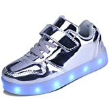 kealux Silber LED Leuchten Schuhe mit Fernbedienung USB-Aufladung Blinkende Turnschuhe mit niedrigem Absatz für Kinder Jugend Kind Unisex - 35