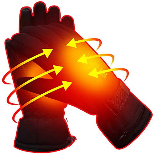 Men Women Electric Gloves with 3.7V Rechargeable Battery,Unisex Thermal Heated Mitts for Walking Hiking Sleeping Riding,Winter Warm Novelty Sports Mittens,Climbing Hiking Camping Heating Hand Warmer