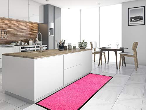 Primaflor - Ideen in Textil Küchenläufer Küchenvorleger Schmutzfangmatte CLEAN - Pink, 60x180 cm, Küchenteppich Schmutzfangläufer