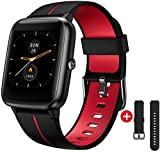 Smart Watch GPS for Men Women,1.3' Full Touch Screen Fitness Trackers with Heart Rate/Sleep Monitor,5ATM Waterproof Pedometer Stopwatch Weather Smartwatches for Android iOS iPhone (Black & red)